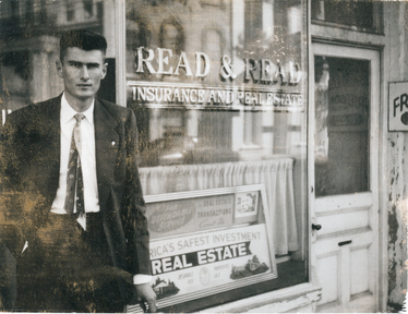 Thomas L. Read, Sr. in front of 37 Broad Street, circa 1955
